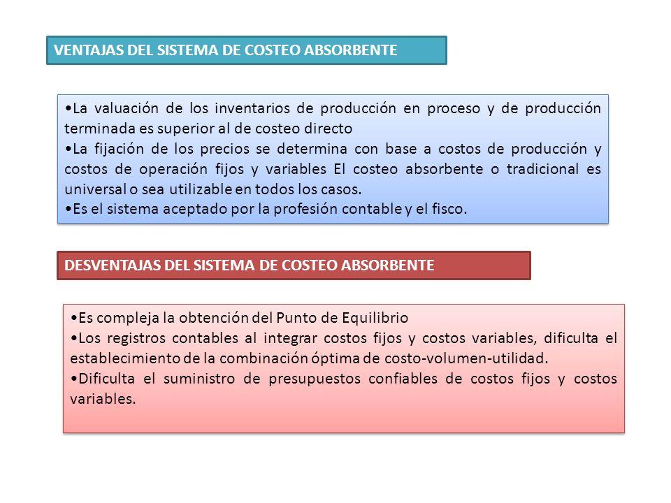 VENTAJAS DEL SISTEMA DE COSTEO ABSORBENTE La valuación de los inventarios de producción en proceso y de producción terminada es superior al de costeo