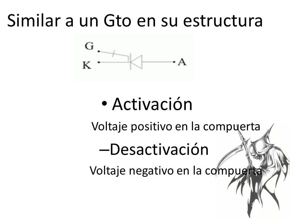 Similar a un Gto en su estructura Activación Voltaje positivo en la compuerta – Desactivación Voltaje negativo en la compuerta