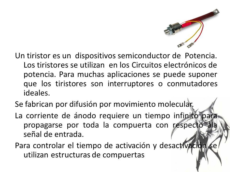 Un tiristor es un dispositivos semiconductor de Potencia.