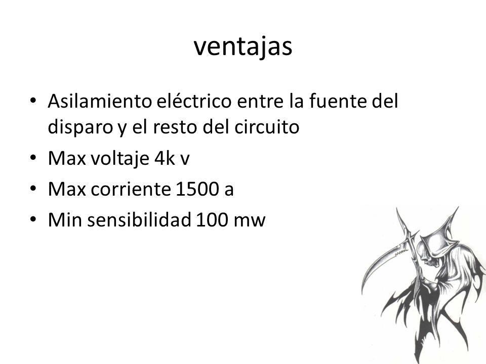 ventajas Asilamiento eléctrico entre la fuente del disparo y el resto del circuito Max voltaje 4k v Max corriente 1500 a Min sensibilidad 100 mw