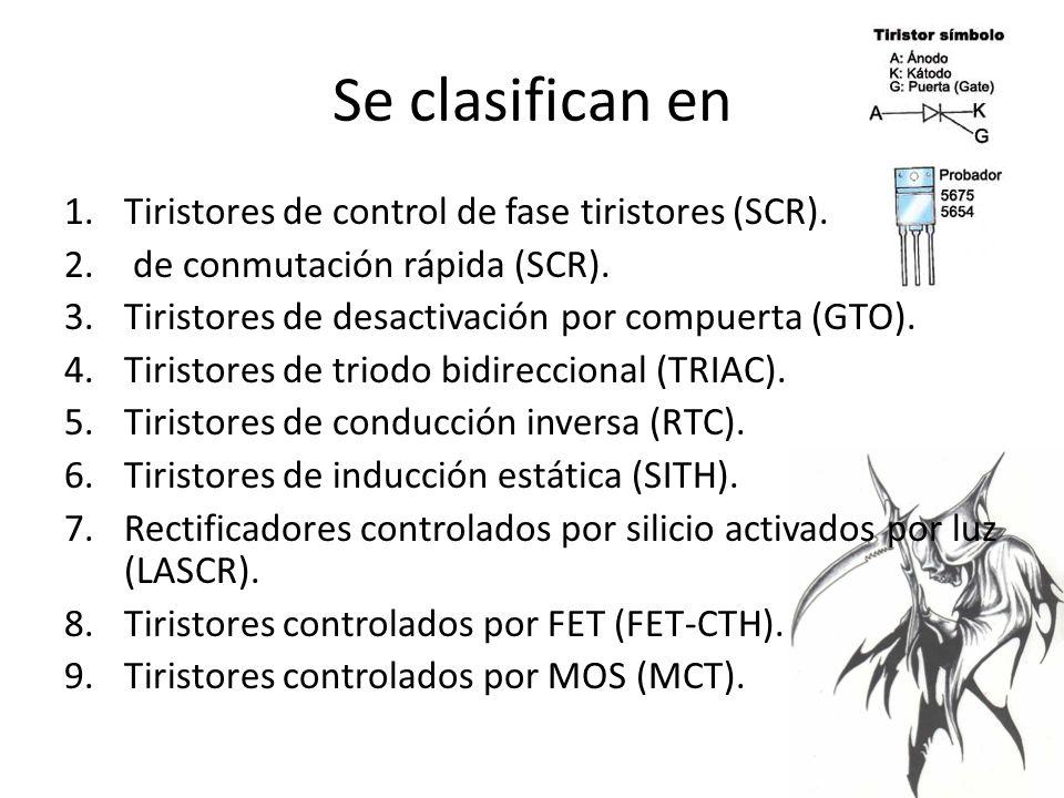 Se clasifican en 1.Tiristores de control de fase tiristores (SCR).