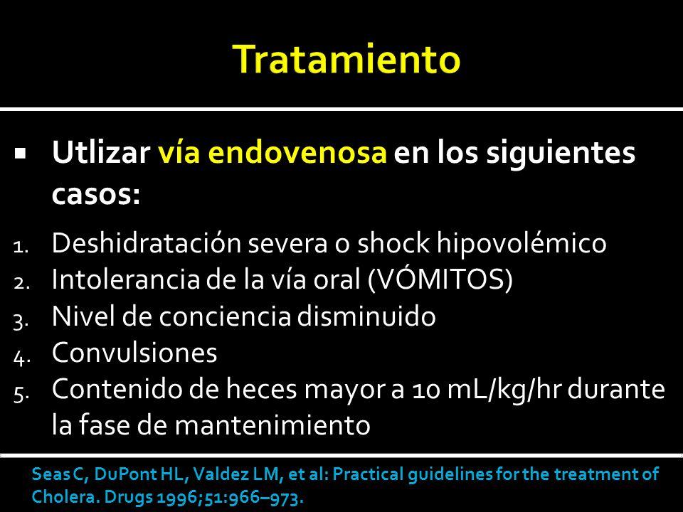 Utlizar vía endovenosa en los siguientes casos: 1. Deshidratación severa o shock hipovolémico 2. Intolerancia de la vía oral (VÓMITOS) 3. Nivel de con