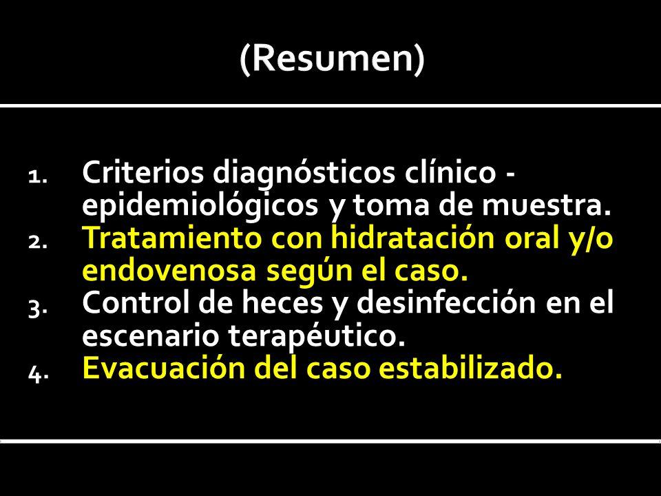1. Criterios diagnósticos clínico - epidemiológicos y toma de muestra. 2. Tratamiento con hidratación oral y/o endovenosa según el caso. 3. Control de