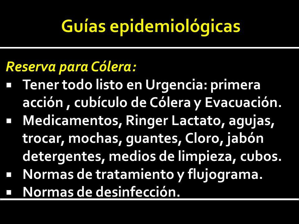 Reserva para Cólera: Tener todo listo en Urgencia: primera acción, cubículo de Cólera y Evacuación. Medicamentos, Ringer Lactato, agujas, trocar, moch