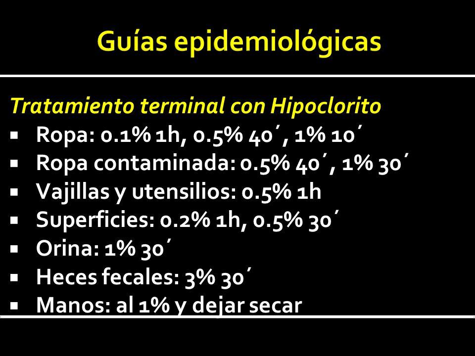Tratamiento terminal con Hipoclorito Ropa: 0.1% 1h, 0.5% 40´, 1% 10´ Ropa contaminada: 0.5% 40´, 1% 30´ Vajillas y utensilios: 0.5% 1h Superficies: 0.