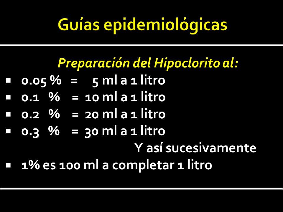 Preparación del Hipoclorito al: 0.05 % = 5 ml a 1 litro 0.1 % = 10 ml a 1 litro 0.2 % = 20 ml a 1 litro 0.3 % = 30 ml a 1 litro Y así sucesivamente 1%