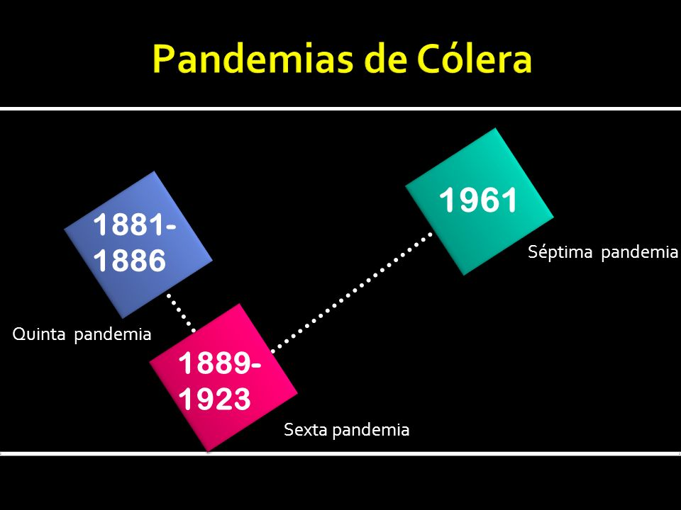 1881- 1886 1889- 1923 1961 Sexta pandemia Séptima pandemia Quinta pandemia