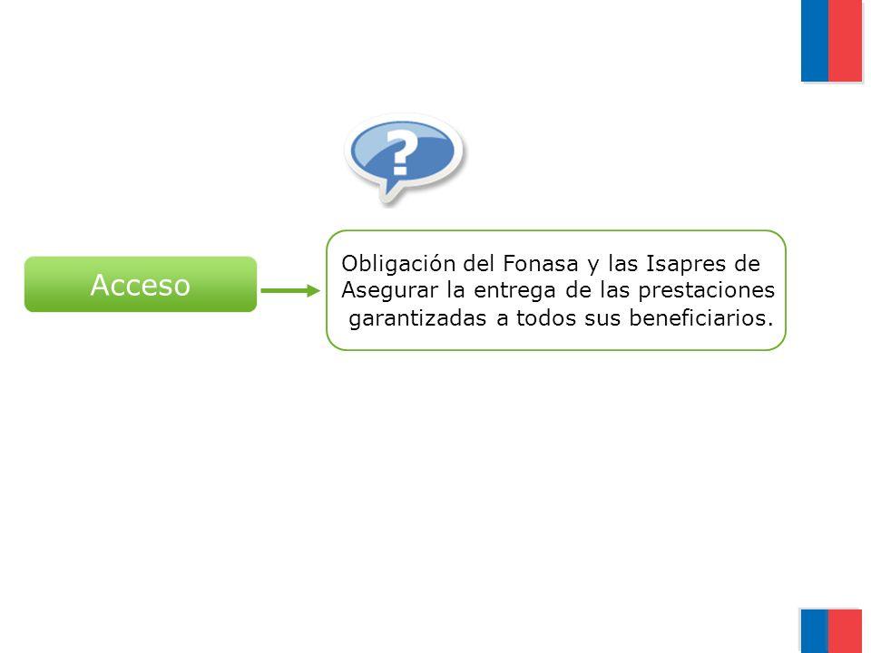 Acceso Obligación del Fonasa y las Isapres de Asegurar la entrega de las prestaciones garantizadas a todos sus beneficiarios.