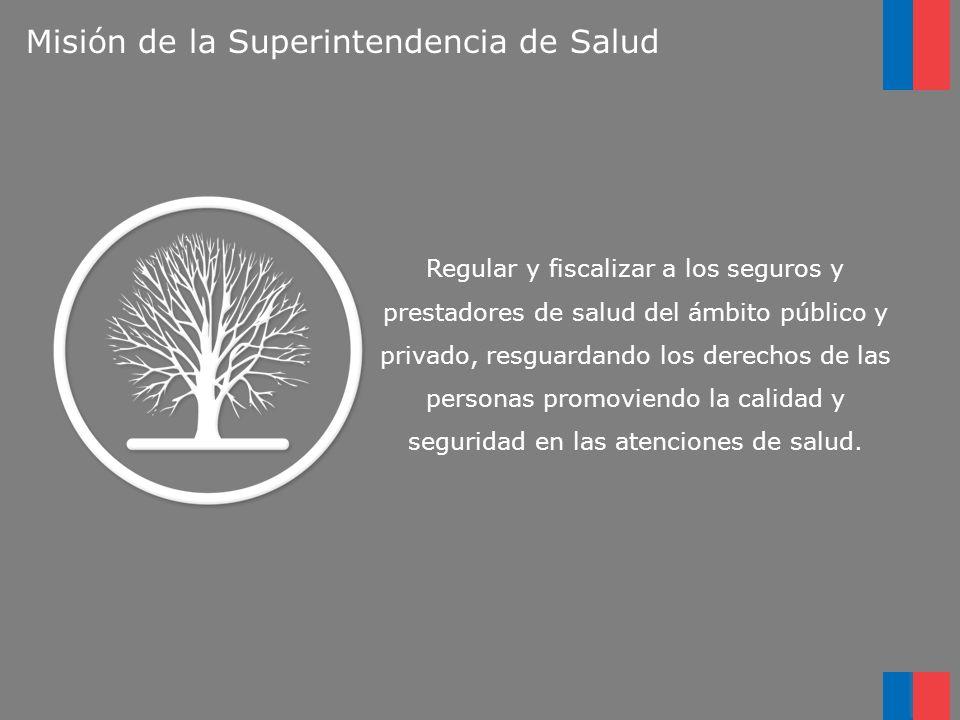 Misión de la Superintendencia de Salud Regular y fiscalizar a los seguros y prestadores de salud del ámbito público y privado, resguardando los derech