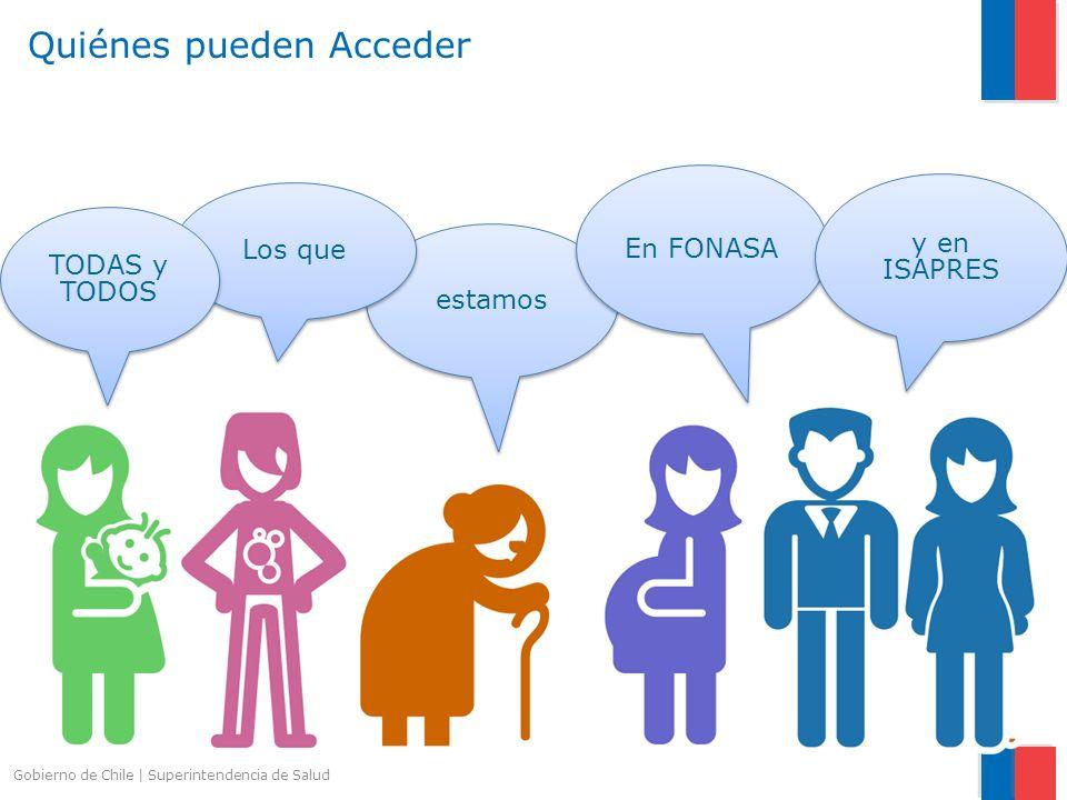 Gobierno de Chile   Superintendencia de Salud estamos Los que En FONASA y en ISAPRES TODAS y TODOS TODAS y TODOS Quiénes pueden Acceder
