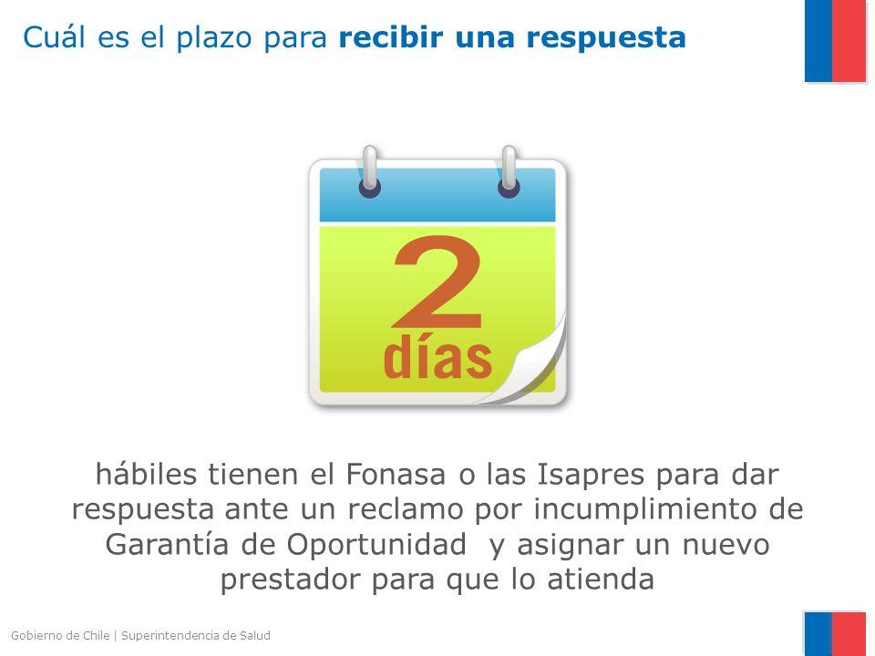Gobierno de Chile   Superintendencia de Salud hábiles tienen el Fonasa o las Isapres para dar respuesta ante un reclamo por incumplimiento de Garantía