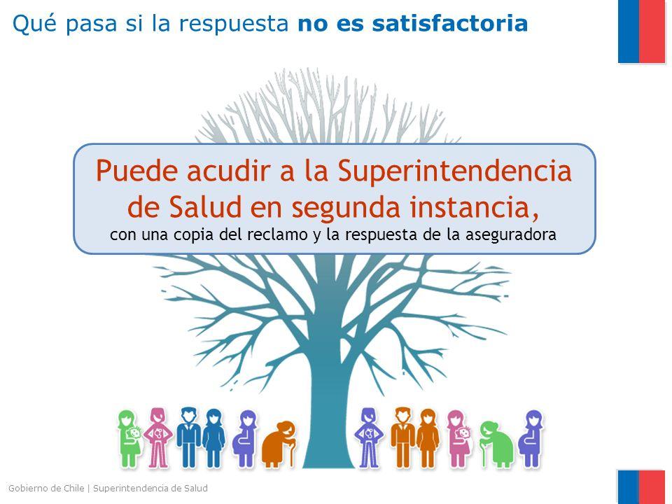 Gobierno de Chile   Superintendencia de Salud Puede acudir a la Superintendencia de Salud en segunda instancia, con una copia del reclamo y la respues