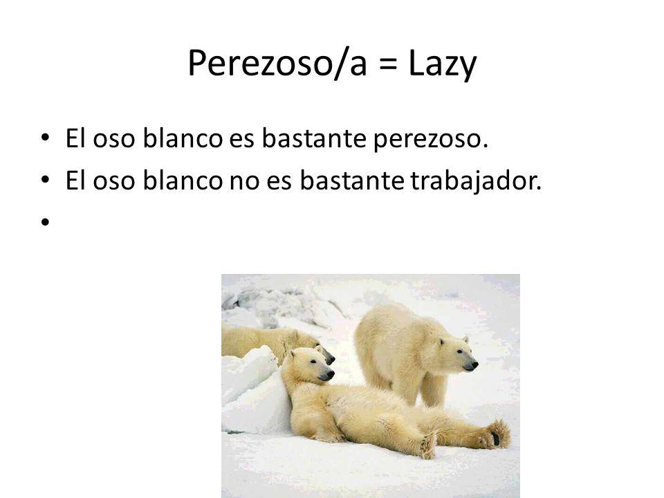 Perezoso/a = Lazy El oso blanco es bastante perezoso. El oso blanco no es bastante trabajador.