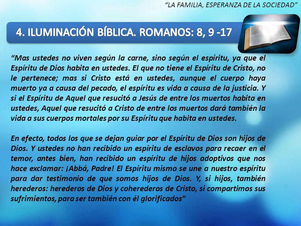 Mas ustedes no viven según la carne, sino según el espíritu, ya que el Espíritu de Dios habita en ustedes. El que no tiene el Espíritu de Cristo, no l