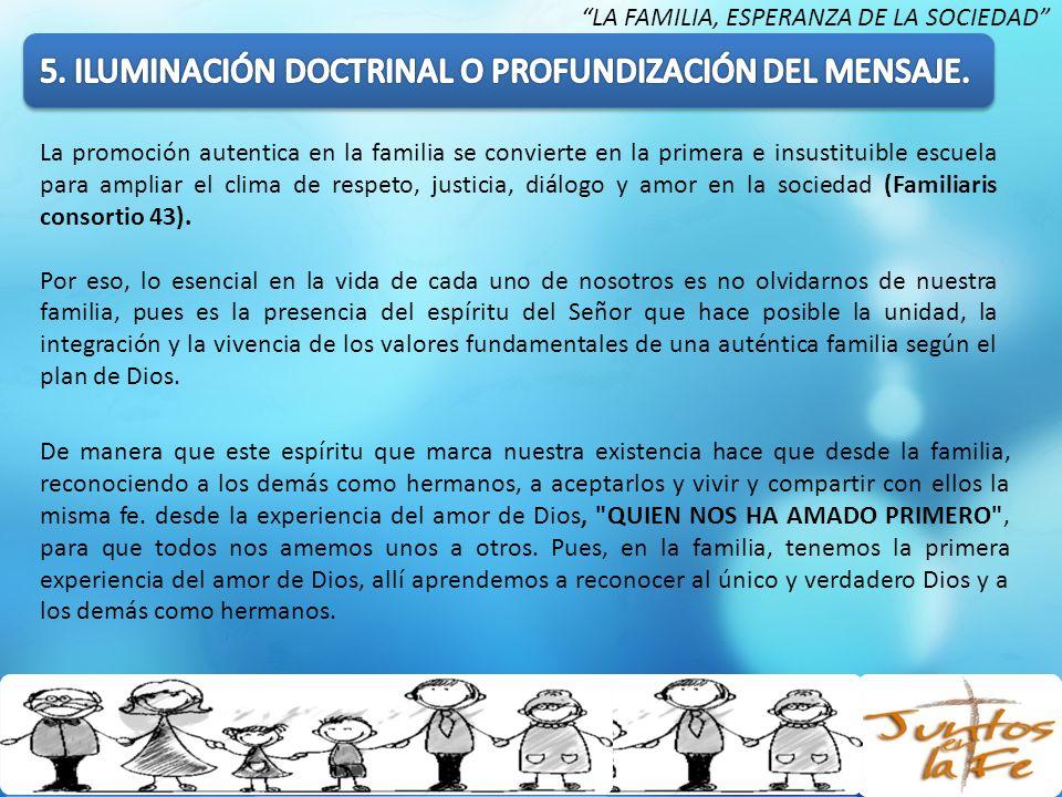 La promoción autentica en la familia se convierte en la primera e insustituible escuela para ampliar el clima de respeto, justicia, diálogo y amor en