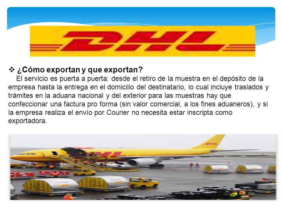 ¿Cómo exportan y que exportan? El servicio es puerta a puerta: desde el retiro de la muestra en el depósito de la empresa hasta la entrega en el domic