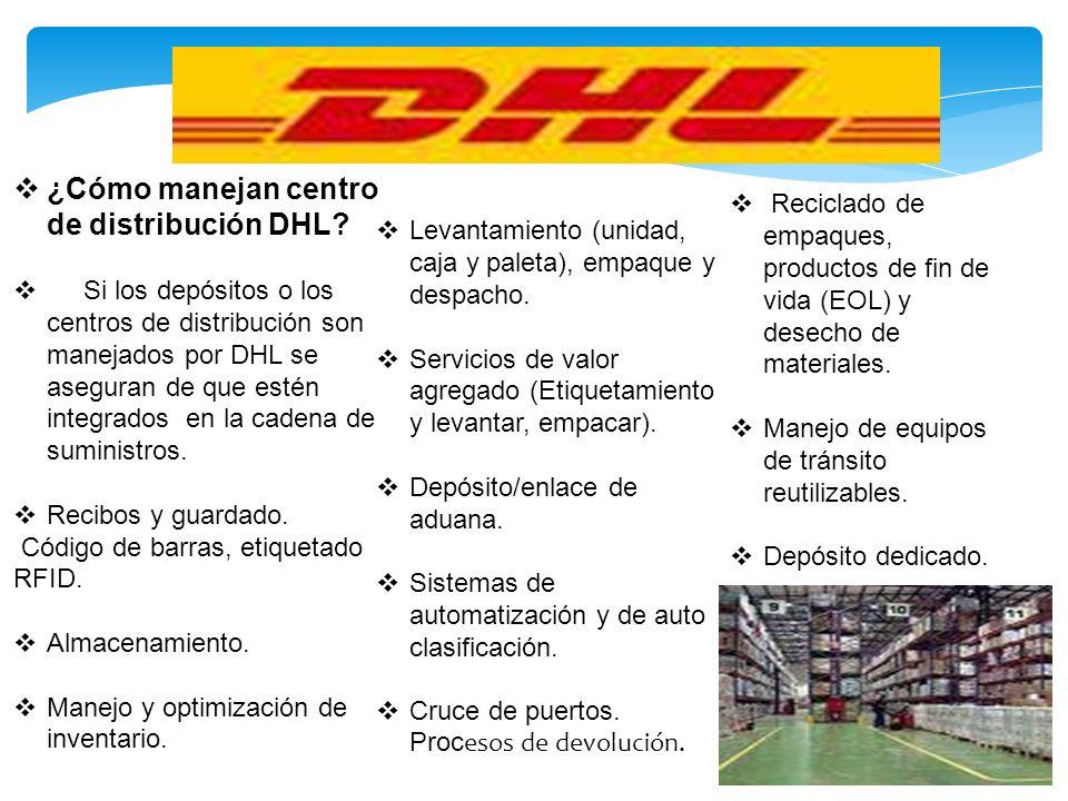¿Cómo manejan centro de distribución DHL? Si los depósitos o los centros de distribución son manejados por DHL se aseguran de que estén integrados en