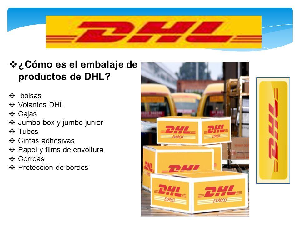 ¿Cómo es el embalaje de productos de DHL? bolsas Volantes DHL Cajas Jumbo box y jumbo junior Tubos Cintas adhesivas Papel y films de envoltura Correas