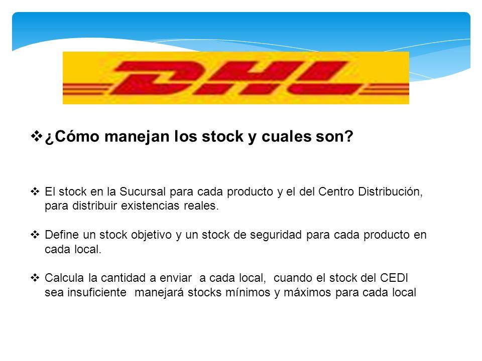 ¿Cómo manejan los stock y cuales son? El stock en la Sucursal para cada producto y el del Centro Distribución, para distribuir existencias reales. Def