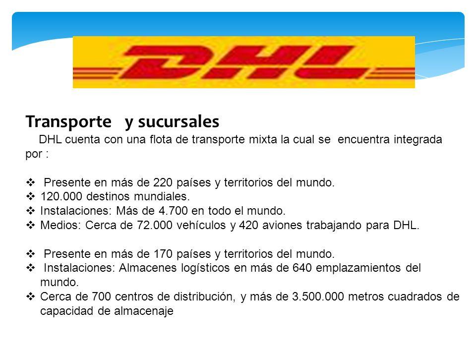 Transporte y sucursales DHL cuenta con una flota de transporte mixta la cual se encuentra integrada por : Presente en más de 220 países y territorios del mundo.