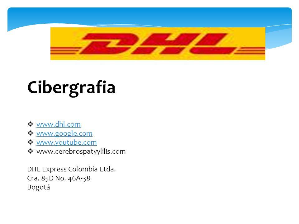 Cibergrafia www.dhl.com www.google.com www.youtube.com www.cerebrospatyylilis.com DHL Express Colombia Ltda. Cra. 85D No. 46A-38 Bogotá