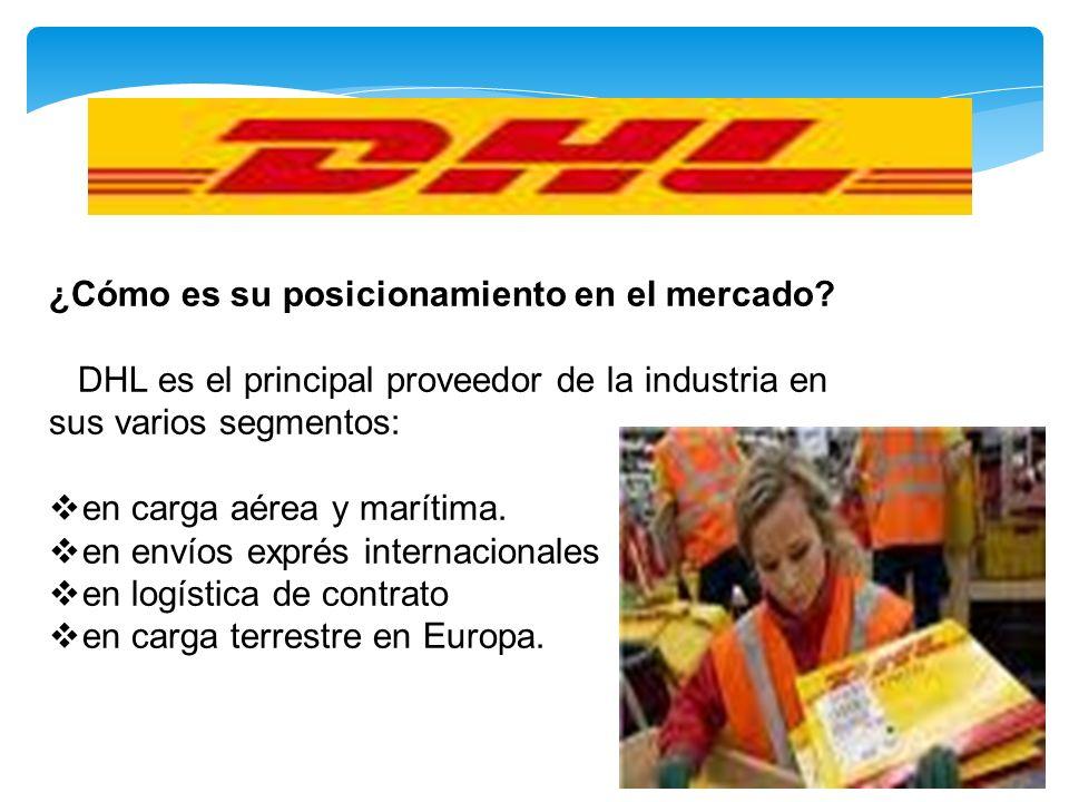 ¿Cómo es su posicionamiento en el mercado? DHL es el principal proveedor de la industria en sus varios segmentos: en carga aérea y marítima. en envíos
