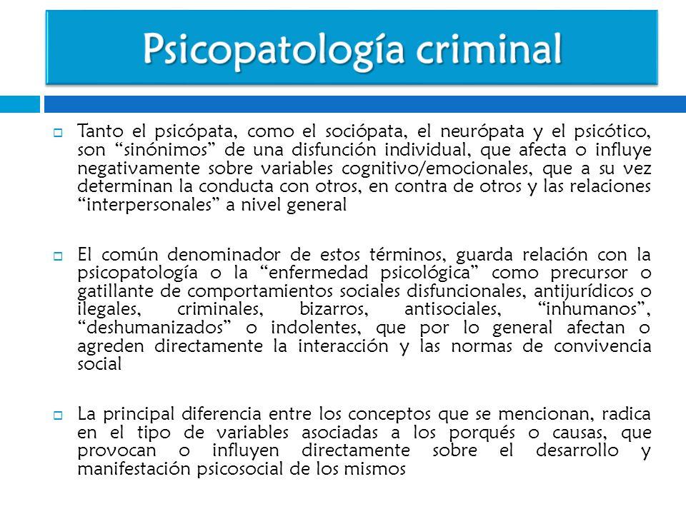 Tanto el psicópata, como el sociópata, el neurópata y el psicótico, son sinónimos de una disfunción individual, que afecta o influye negativamente sob
