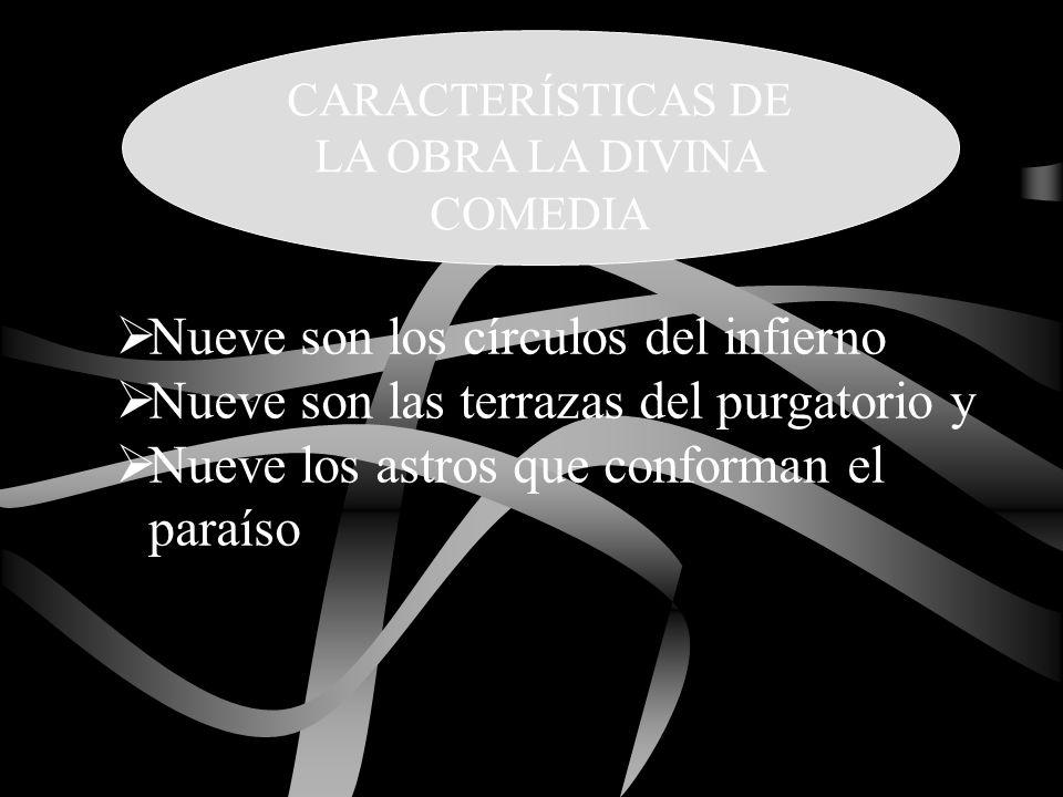 Nueve son los círculos del infierno Nueve son las terrazas del purgatorio y Nueve los astros que conforman el paraíso CARACTERÍSTICAS DE LA OBRA LA DI
