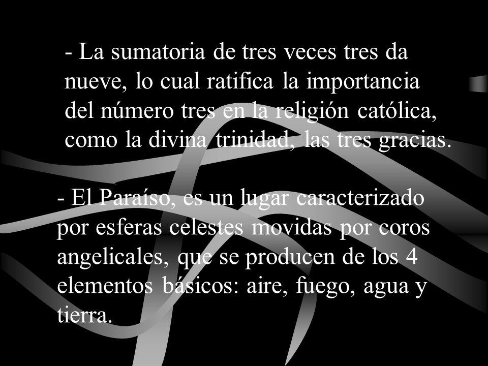 - La sumatoria de tres veces tres da nueve, lo cual ratifica la importancia del número tres en la religión católica, como la divina trinidad, las tres