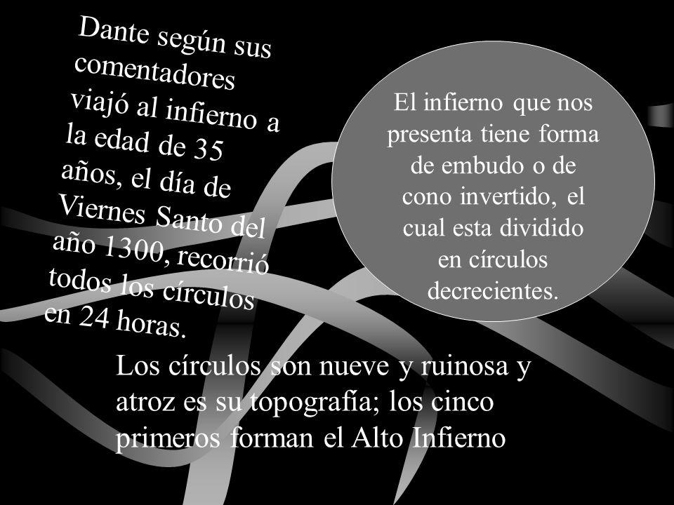 Dante según sus comentadores viajó al infierno a la edad de 35 años, el día de Viernes Santo del año 1300, recorrió todos los círculos en 24 horas. El