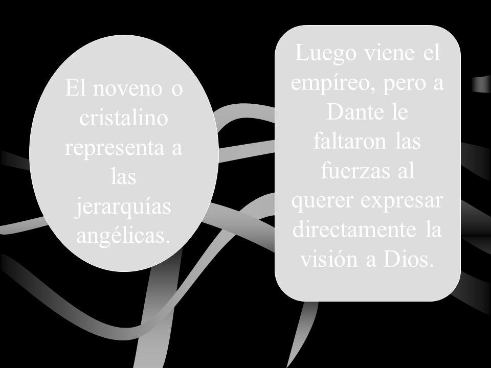 Luego viene el empíreo, pero a Dante le faltaron las fuerzas al querer expresar directamente la visión a Dios. El noveno o cristalino representa a las