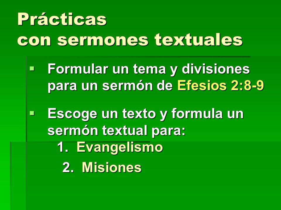 Principio #7 7.Es de provecho espiritual predicar SERIES de sermones textuales con un tema que los relaciona. Ej. El Cristiano perfecto Ej. El Cristia