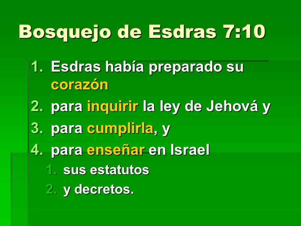 Bosquejo de Esdras 7:10 1.Esdras había preparado su corazón 2.para inquirir la ley de Jehová y 3.para cumplirla, y 4.para enseñar en Israel 1.sus estatutos 2.y decretos.