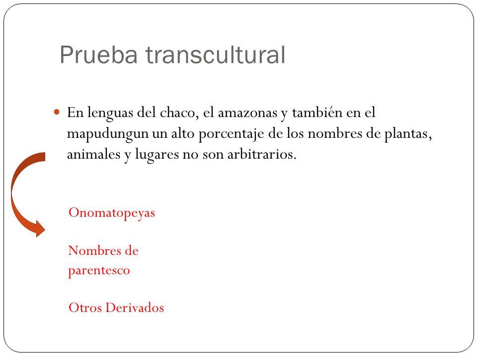 Prueba transcultural En lenguas del chaco, el amazonas y también en el mapudungun un alto porcentaje de los nombres de plantas, animales y lugares no son arbitrarios.