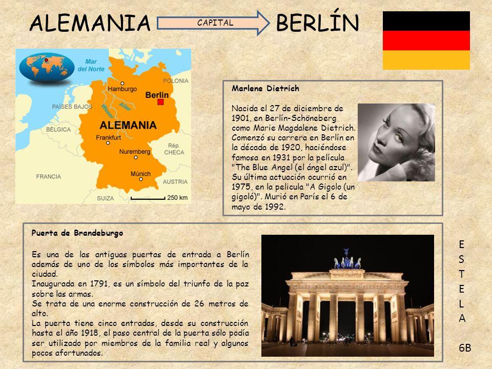 ALEMANIA BERLÍN Marlene Dietrich Nacida el 27 de diciembre de 1901, en Berlín-Schöneberg como Marie Magdalene Dietrich.