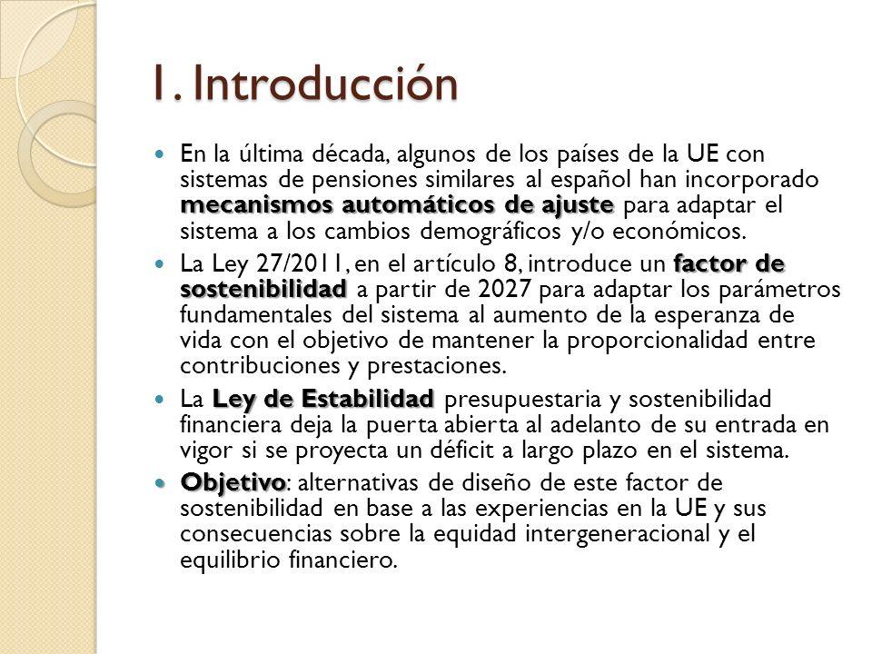 1. Introducción mecanismos automáticos de ajuste En la última década, algunos de los países de la UE con sistemas de pensiones similares al español ha