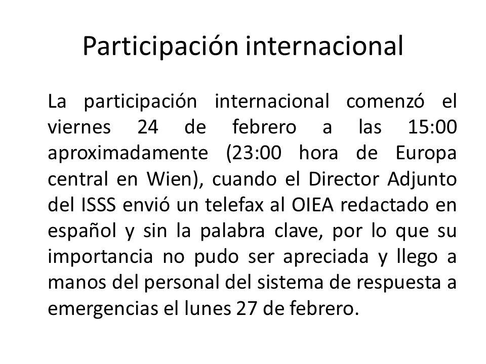 Participación internacional La participación internacional comenzó el viernes 24 de febrero a las 15:00 aproximadamente (23:00 hora de Europa central