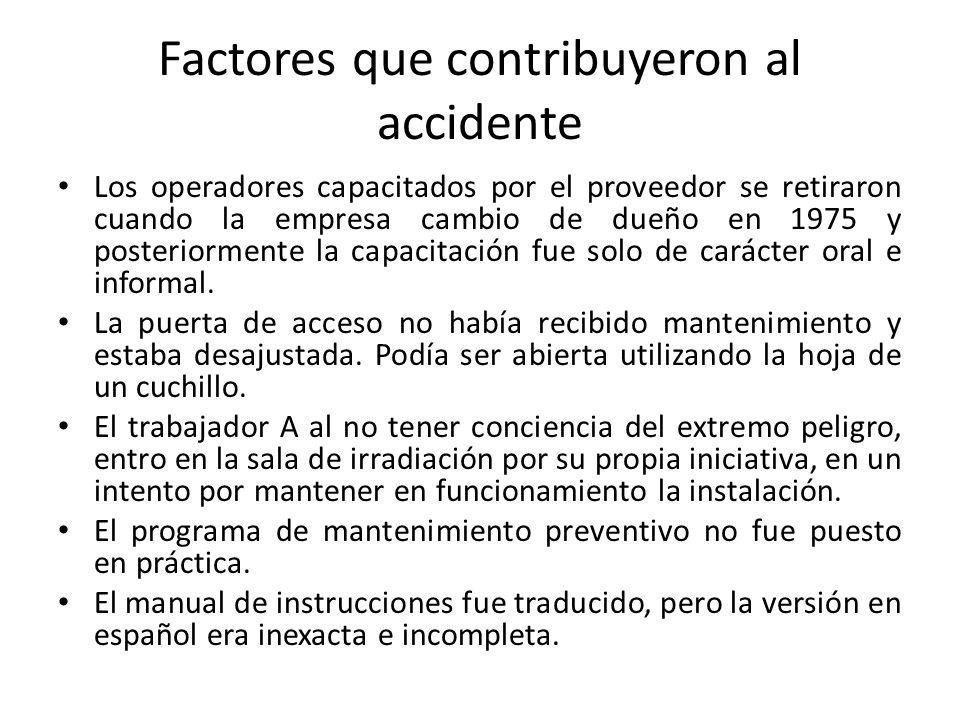 Factores que contribuyeron al accidente Los operadores capacitados por el proveedor se retiraron cuando la empresa cambio de dueño en 1975 y posteriormente la capacitación fue solo de carácter oral e informal.
