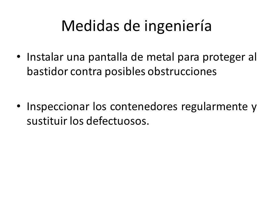 Medidas de ingeniería Instalar una pantalla de metal para proteger al bastidor contra posibles obstrucciones Inspeccionar los contenedores regularmente y sustituir los defectuosos.