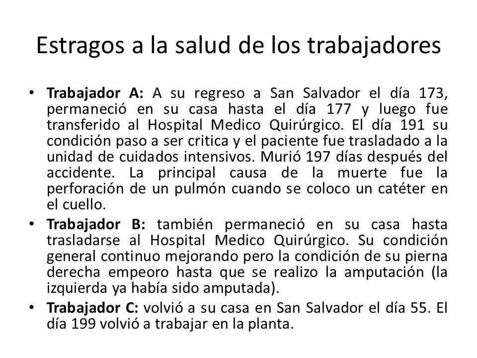 Estragos a la salud de los trabajadores Trabajador A: A su regreso a San Salvador el día 173, permaneció en su casa hasta el día 177 y luego fue transferido al Hospital Medico Quirúrgico.
