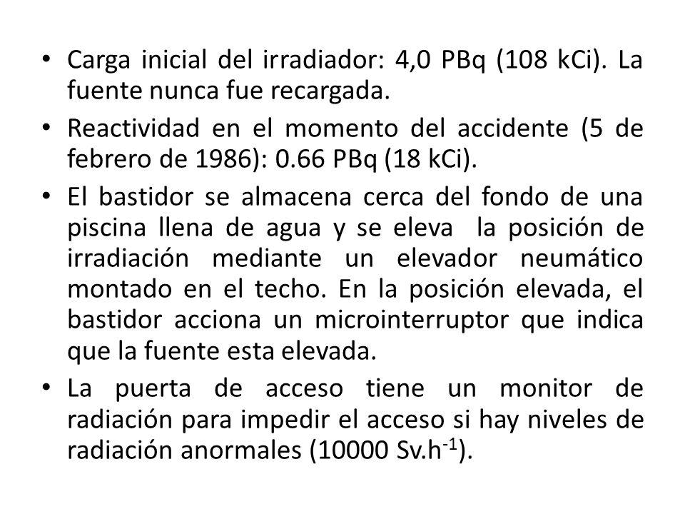Carga inicial del irradiador: 4,0 PBq (108 kCi). La fuente nunca fue recargada. Reactividad en el momento del accidente (5 de febrero de 1986): 0.66 P