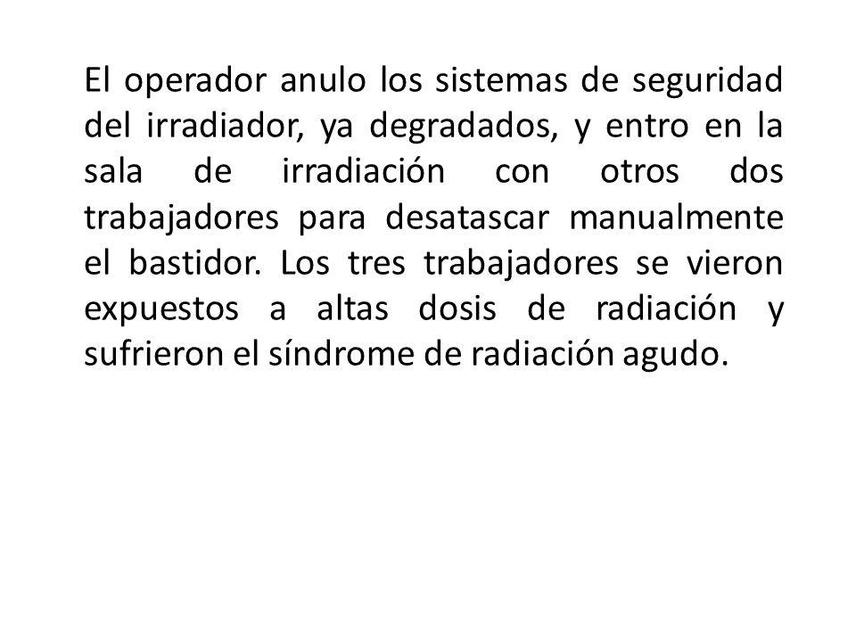 El operador anulo los sistemas de seguridad del irradiador, ya degradados, y entro en la sala de irradiación con otros dos trabajadores para desatasca