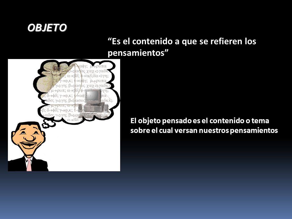 OBJETOOBJETO Es el contenido a que se refieren los pensamientos El objeto pensado es el contenido o tema sobre el cual versan nuestros pensamientos