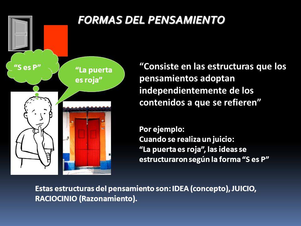 FORMAS DEL PENSAMIENTO Consiste en las estructuras que los pensamientos adoptan independientemente de los contenidos a que se refieren Estas estructuras del pensamiento son: IDEA (concepto), JUICIO, RACIOCINIO (Razonamiento).