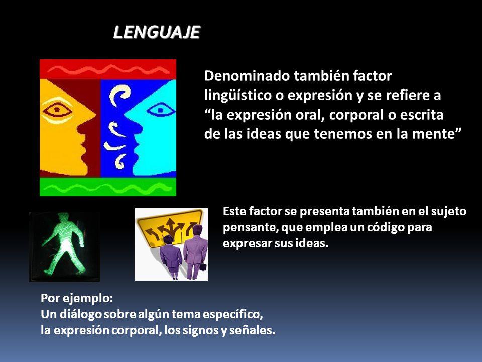 LENGUAJELENGUAJE Denominado también factor lingüístico o expresión y se refiere a la expresión oral, corporal o escrita de las ideas que tenemos en la