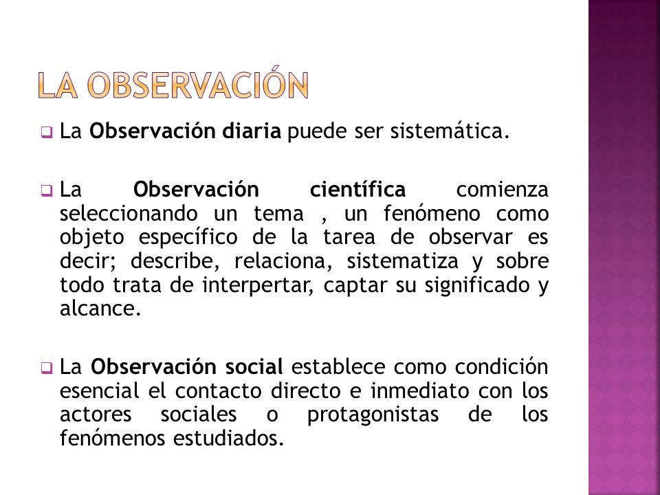 La Observación diaria puede ser sistemática.