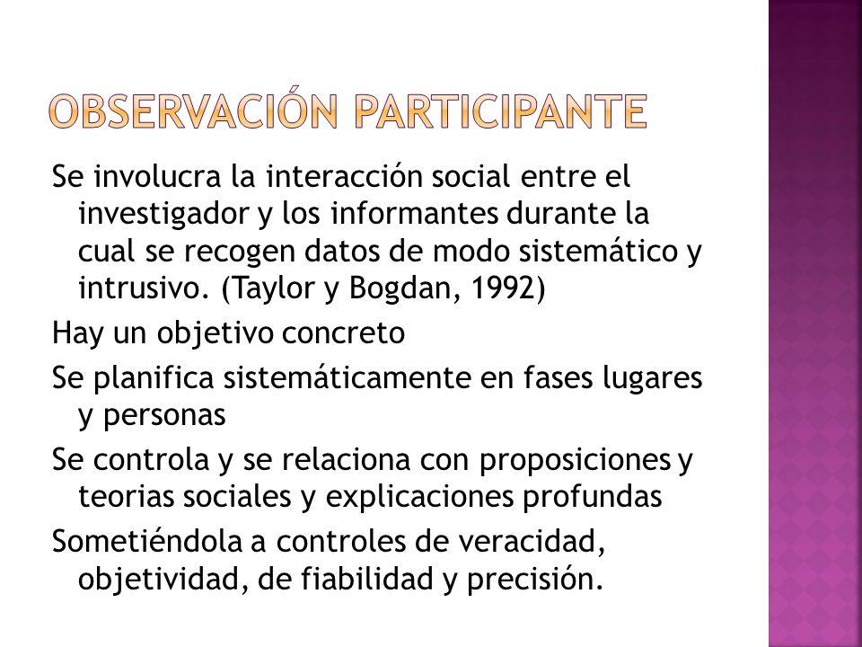 Se involucra la interacción social entre el investigador y los informantes durante la cual se recogen datos de modo sistemático y intrusivo.