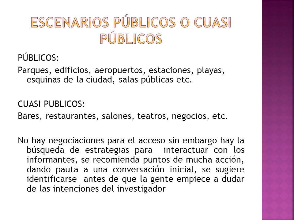 PÚBLICOS: Parques, edificios, aeropuertos, estaciones, playas, esquinas de la ciudad, salas públicas etc.