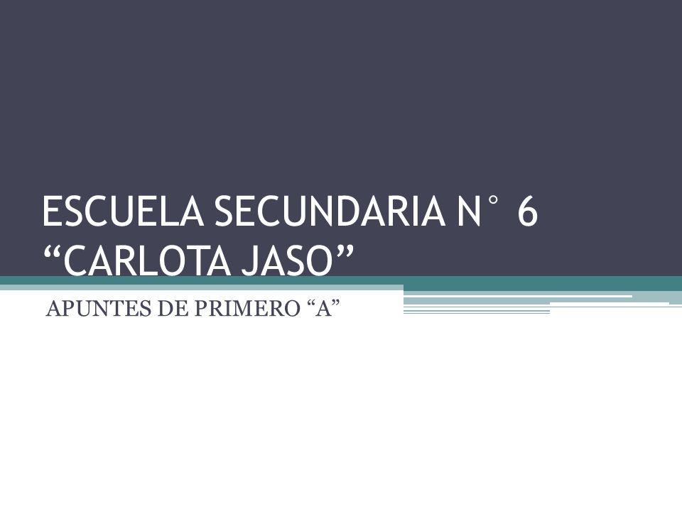 ESCUELA SECUNDARIA N° 6 CARLOTA JASO APUNTES DE PRIMERO A