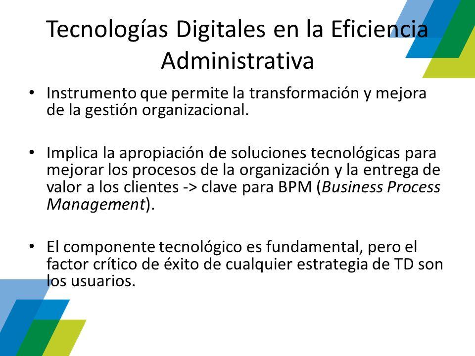 Tecnologías Digitales en la Eficiencia Administrativa Instrumento que permite la transformación y mejora de la gestión organizacional. Implica la apro